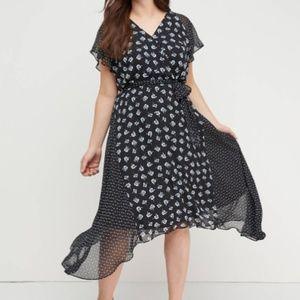 Lane Bryant Floral Faux-Wrap Midi Dress New